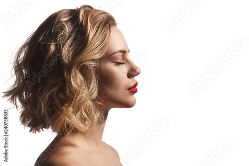 Fotografie, Obraz  Profile of a beautiful woman with closed eyes