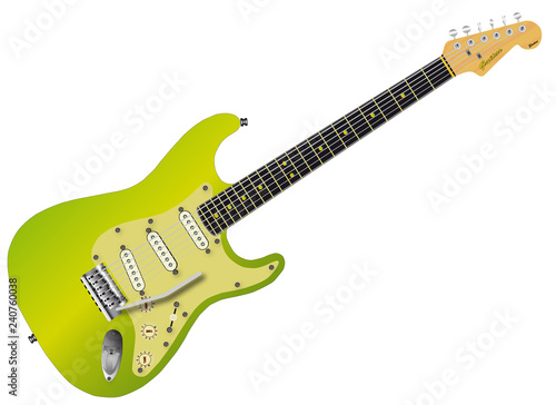 Green Electric Guitar Wallpaper Mural