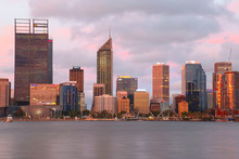 City Of Perth Western Australia Skyline At Sunset As Seen From South Perth Across The Swan River