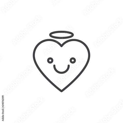 Angel Face Emoticon Outline Icon Linear Style Sign For