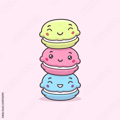 Cute happy macarons cookies stack vector cartoon kawaii illustration