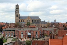 Bruges, Belgium. View Of The City Center And Of The Saint Salvator Cathedral From The Roof Of The Beer Factory De Halve Maan