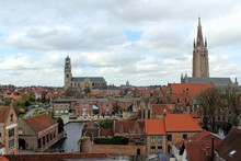 Bruges, Belgium. View Of The City Center From The Roof Of The Beer Factory De Halve Maan.
