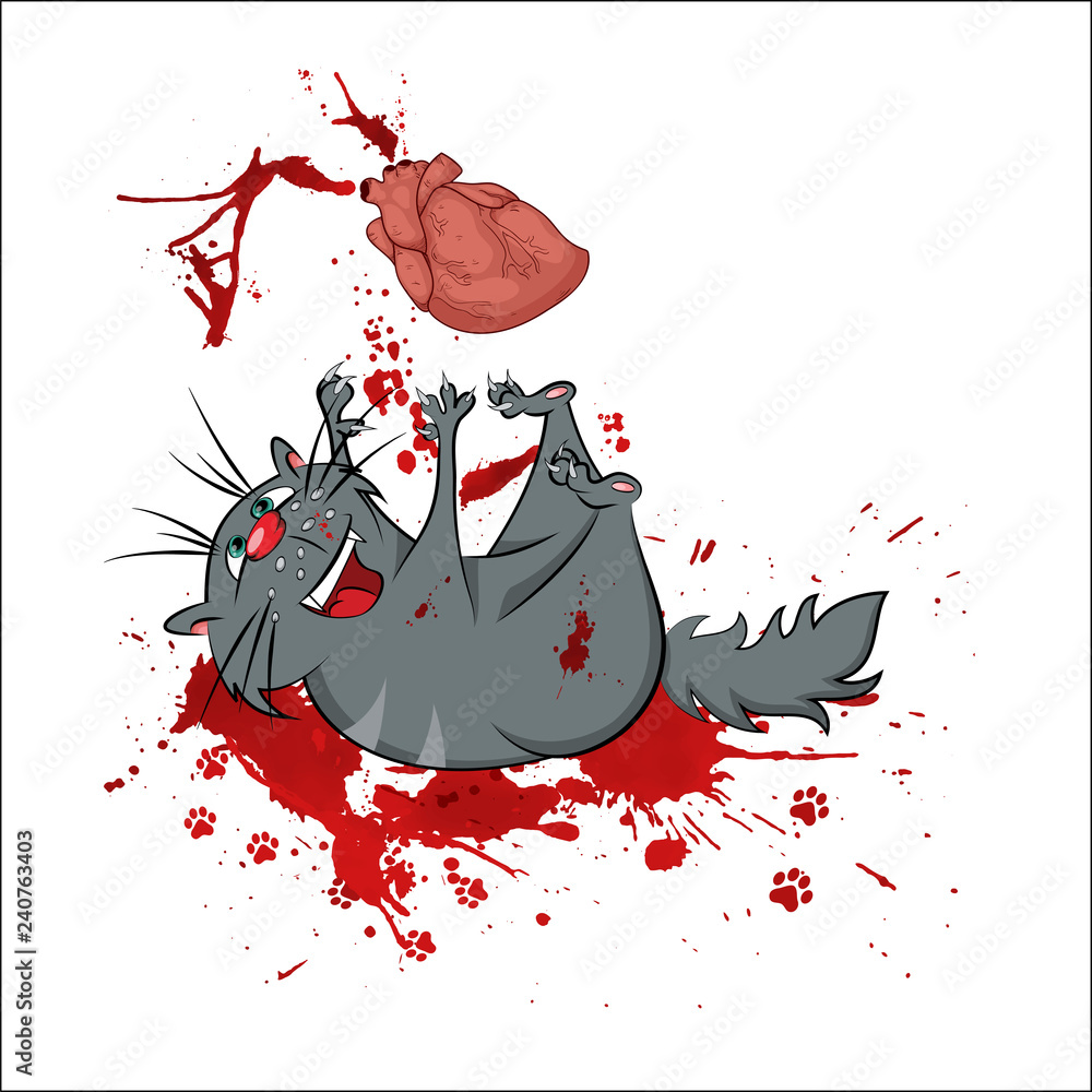 Fototapeta Gray cat playing with a lively heart. Bloody spray. Vector illustration
