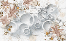 3D Flowers On Marble Circular Wallpaper, 3d Rendering.