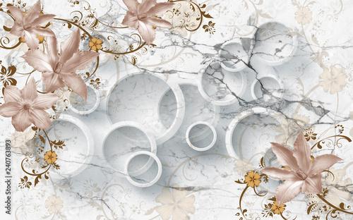 3D flowers on marble circular wallpaper, 3d rendering. - 240763893