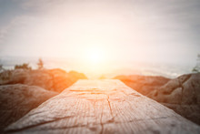 Wooden Plank In Front Of The Nature During The Sunset.  Table Background And Spring Time