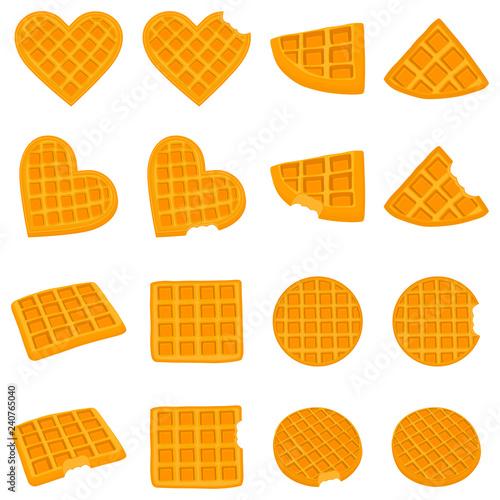 Fotografía  Vector icon illustration logo for set various sweet waffles