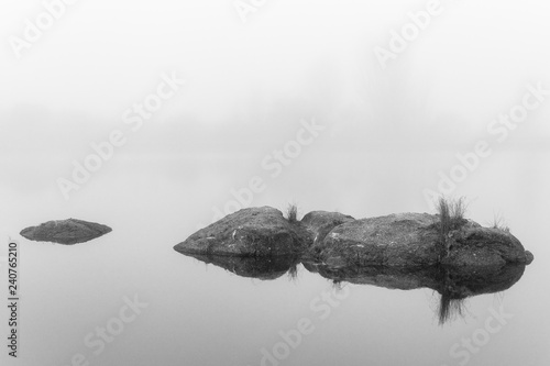 Fotografía  Landscape with fog in the natural park of the Barruecos
