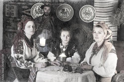Canvastavla Highlanders Hutsuls in the Carpathians in vintage clothes