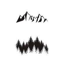 Силуэт леса и гор