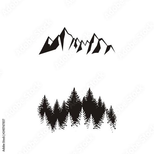 Fotografía Силуэт леса и гор