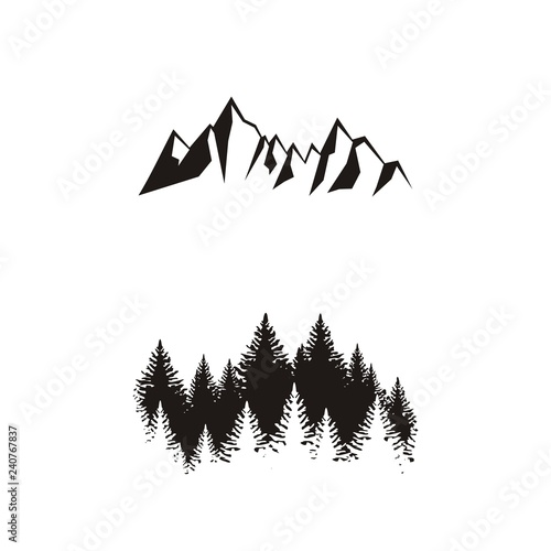 Cuadros en Lienzo Силуэт леса и гор