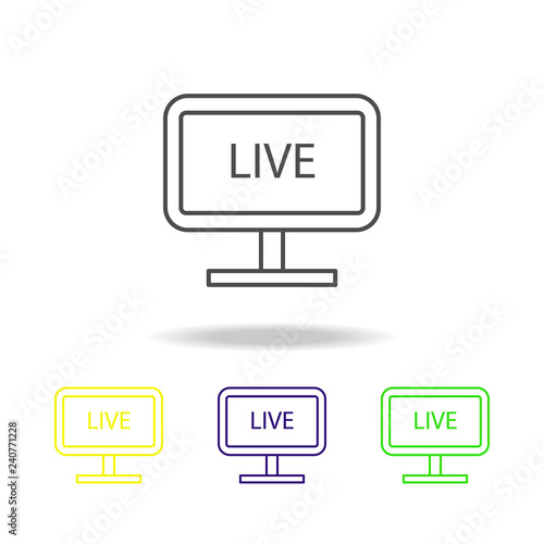 live broadcast on TV multicolored icons  Element of journalism for