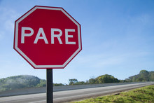 Red Plate Stop PARE Transit Sign