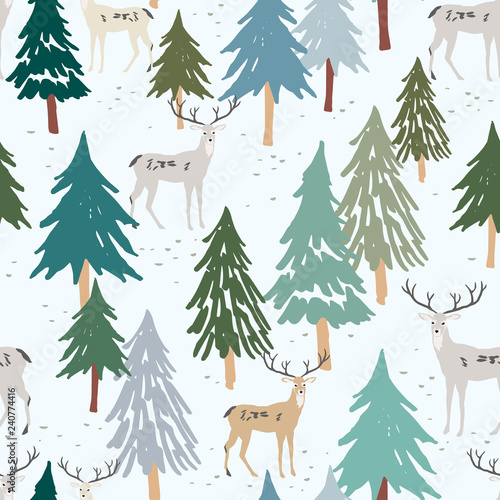 fototapeta na szkło Christmas seamless pattern, white background. Forest deer, green fir, spruce trees. Vector illustration. Nature design. Season greeting digital paper. Winter Xmas holidays. Cute woodland animals