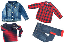Top View On Child Boy Set Of Clothes. Collage Of Apparel Clothing. Jeans ,shirt And Jeans Jacket Isolated On A White Background. Jeans And T-shirt Fashion.