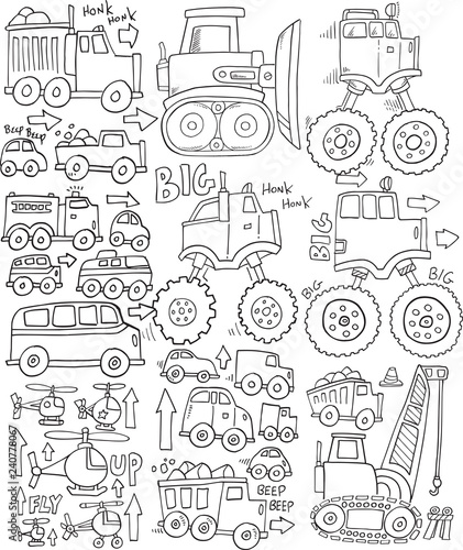 Tuinposter Cartoon draw Cute Transportation Doodle Vector Set Illustration