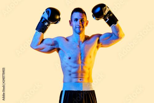 Vászonkép studio portrait of a boxer champion winner