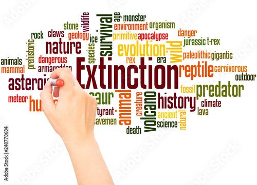 Fotografie, Obraz  Extinction word cloud hand writing concept