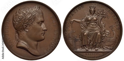 Fotografía France French medal, mid 19th century, subject Occupation of Hamburg by Napoleon