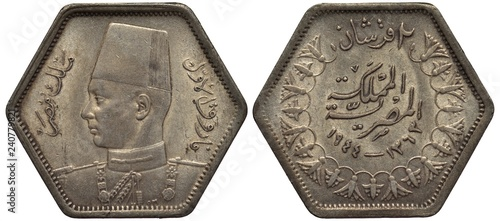 Valokuva  Egypt Egyptian silver coin 2 two piasters 1944, uniformed bust of King Farouk le