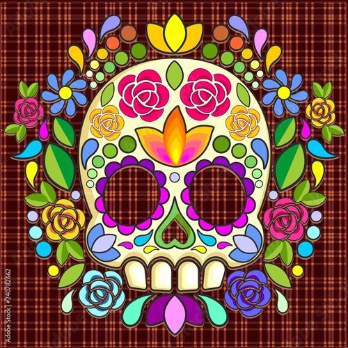 Keuken foto achterwand Draw Sugar Skull Floral Naif Art Mexican Calaveras