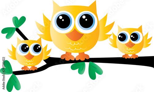 Deurstickers Uilen cartoon a sweet little yellow owl family sitting on a branch