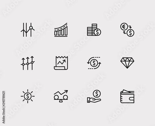 Economy icons set Tapéta, Fotótapéta