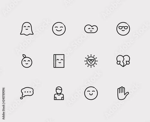 Emoji icons  Set of happy cloud, face happy and bubble emoji vector