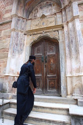 Orthodox monk, pilgrim in the Monastery of Hilandar, Mount Athos, Greece Canvas Print