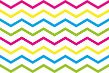 Zigzag Stripes In Green, Pink, Yellow And Blue On White Background