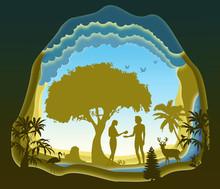 Adam And Eve. Garden Of Eden. ...