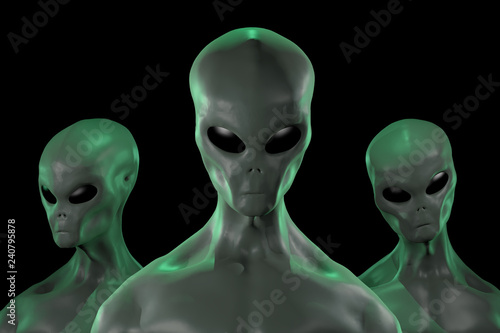 Photo sur Toile UFO A 3D rendered image of a group of humanoid alien creatures isolated on black background