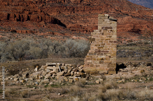 Fotografie, Obraz  ruins,ancient,historic,brick,destroyed.demolished,building,brick