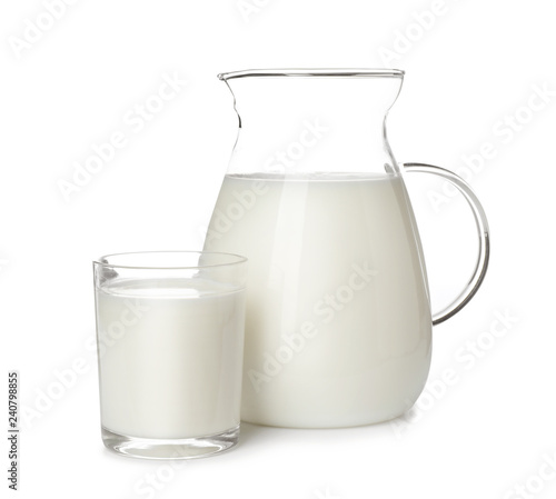 Glass and jug of fresh milk isolated on white