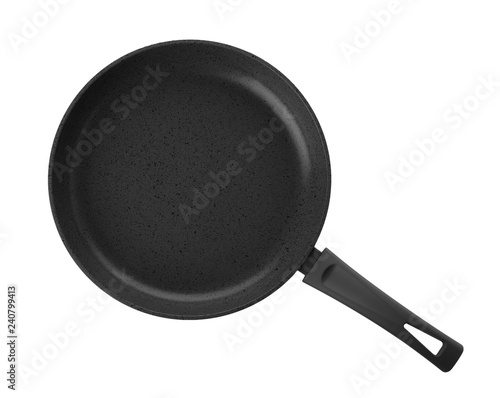 Fotografie, Obraz  Modern clean frying pan isolated on white, top view