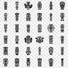 Tiki Idols Icon Set. Simple Set Of Tiki Idols Vector Icons For Web Design