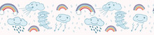 Cute Vector Cartoon Weather Clouds And Rainbow . Seamless Repeat Border With Thunder, Rain, Lightening , Tornado Twister. Flat Color Banner Ribbon In Kawaii Happy Face Style For Kids.