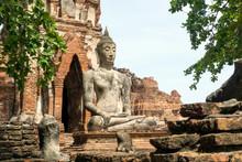 Ayutthaya Historic Park, Thailand - Buddha Statue At Ancient Ruins,