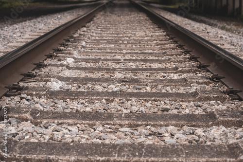 Fotografie, Obraz  Railroad tracks close up