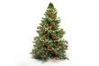 Leinwanddruck Bild - Christmas tree fir with baubles 3d-illustration