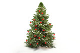 Christmas tree fir with baubles 3d-illustration