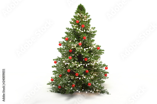 Canvas-taulu Christmas tree fir with baubles 3d-illustration