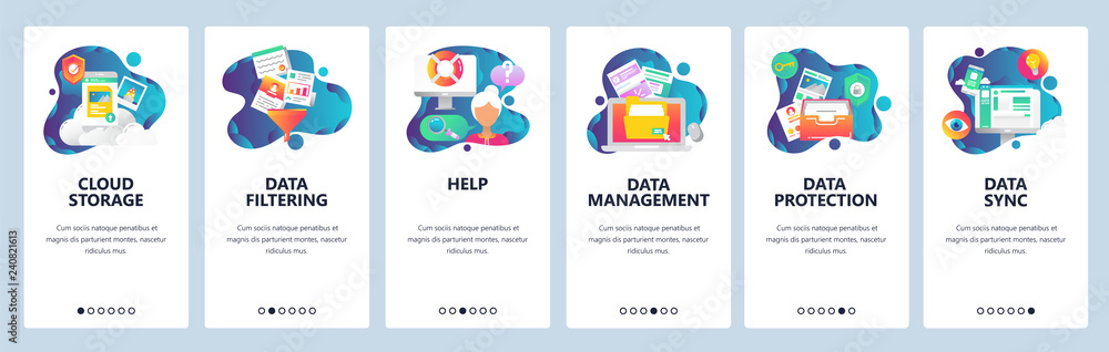 Fototapety, obrazy: Web site onboarding screens. Computer and internet services, cloud storage and data sync. Menu vector banner template for website and mobile app development. Modern design linear art flat illustration