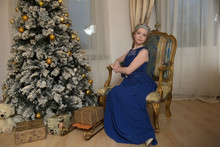 Girl In A Glamorous Blue Dress