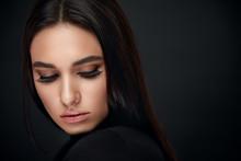 Eyelashes Makeup. Woman Beauty...
