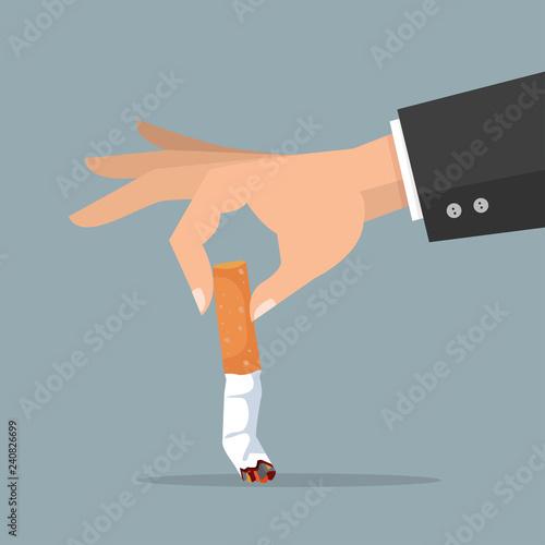 Valokuvatapetti hand extinguishing a Cigarette butt