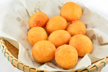 Thai Fried Sweet Potato Balls / General Desserts For Snack In Basket On White Background