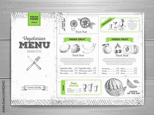 Stampa su Tela Vintage grunge vegetarian food menu design. Fresh fruit sketch